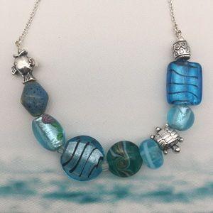 Blue Sea Creature Theme Necklace